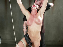 Sadistic and wicked beating punishment for alluring brunette slave
