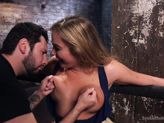 Busty blonde is punished by tough master for being such a cocky slut