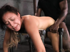 Attractive Latino sweetheart gets her pussy awfully wet from wicked poundings
