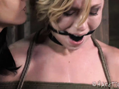 Tough blonde babe gets bounded and beaten by a demanding mistress