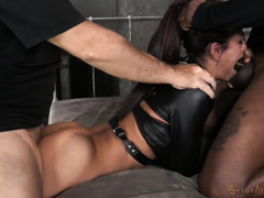 Sexy babe in straightjacket endures rough fucks from two tough masters