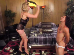 Handsome hunk pays a wicked and stunning blonde mistress to punish him well