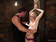 Blonde enjoyed rough flogging and cropping before getting her pussy thrashed