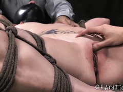 Tormented slave is awfully sweaty after receiving a double team punishment