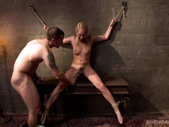 Sexy blonde babe discovered two other sex slaves from master's dungeon