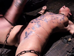 Sweet brunette is suffering from master's crude and uncouth punishment