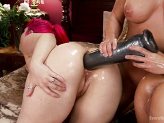 Two captivating slave babes are punished by mistress as she only allows anal sex