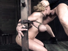 Carnal and rough bondage sex punishment for gorgeous big hooters blonde