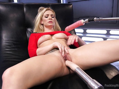 Sweet nectar drips out from gorgeous blonde's relentless fucking machine play