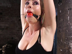 Gagged blonde could not stop screaming from master's intense punishment