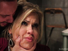 Delivery stud punishes his cocky blonde boss with vicious beaver pounding