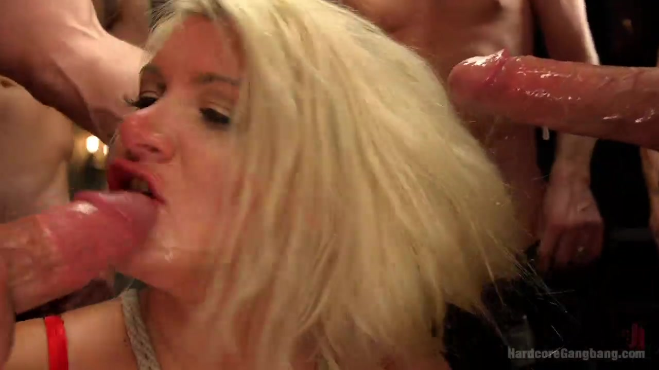 Pretty blonde beauty wants to lose her virginity with a bunch of horny  dudes @ goBDSM