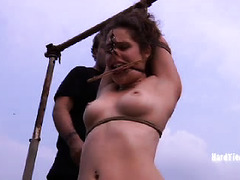Master wants to make brunette cry as he loves having a weeping slave slut