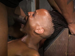 Ebony gives deepthroating with the fucking machine pounding her twat furiously