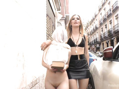 Sultry mistress is going to make cute babe a whore for Jesus in public