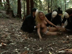 Two attractive beauties are being hunted down by several men for a ritual