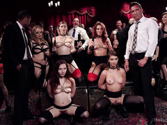 Beautiful young slaves join their seniors for an awesome and raunchy orgy party