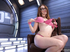 Horny and geeky sweetheart eases her hungry desires with wicked sex toys