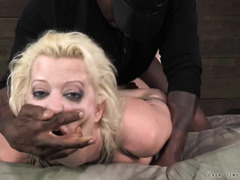 Wicked and raunchy threesome interracial punishment for big boobs blonde slave