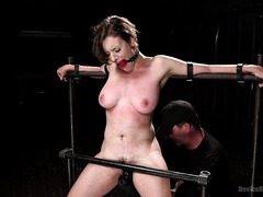 Gagged and bounded brunette has to cum for master after receiving punishment