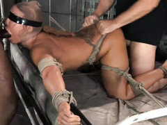 Big hooters brunette babe is bounded and punished by two tough masters