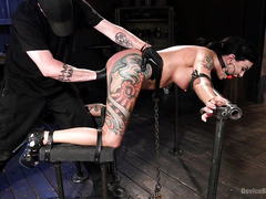 Tattooed slave beauty is punished relentlessly for being such a beautiful babe