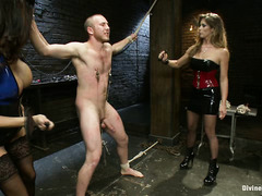Two rough bitches dominate submissive stud with explicit and rough punishments