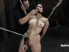 Extensive and explicit bondage punishment for submissive short-haired sweetheart
