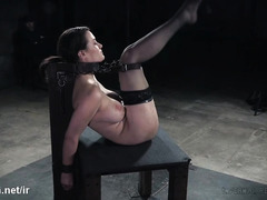 Scarring busty slave's body through vicious caning and whipping pleasures