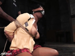 Taming defiant ebony chick with lusty spanking and beating punishment