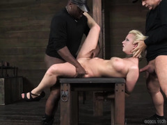 Relentless and humiliating deepthroating for bounded blonde during threesome