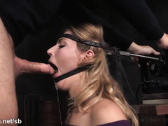 Blonde slut could not stop moaning as she rides on a powerful sybian machine