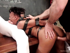 Geeky ebony babe enjoys racy hot fuck-a-thon with several demanding dicks