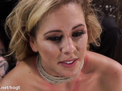 Horny blonde slave enjoys getting her body marked from tight bondage punishment