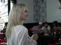 Lovely blonde surrenders herself for a lusty and humiliating public punishment