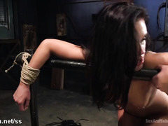 Attractive slave gets her butt hole and pussy stretched by master's thick dick
