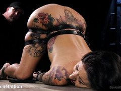 Intense beating and pleasuring punishment for gorgeous tattooed latina slave
