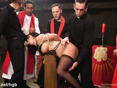 Several lusty priests give busty babe a holy and rough gangbang enlightenment