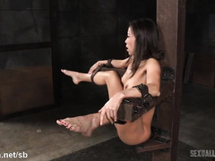 Bounded skinny Asian is totally helpless as she receives rough beaver thrashing