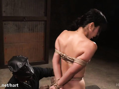 Demure Japanese slave experiences rough beating and explicit beaver pleasuring