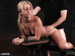 Sweet blonde is no longer laughing after receiving rough beaver thrashing