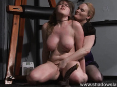 Lesbian humiliation and boot licking submission of spanked and kicked slavegirl