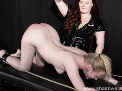 Satine Sparks lesbian foot fetish and hot waxing bdsm of blonde submissive babe