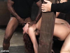 Two thick male rods for sexy brunette's tight beaver and lusty wet mouth