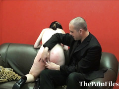 Kinky spanking and brutal blowjob of dominated slavesex sub Fae Corbin in hardcore whipping and rough oral services to her dominant master