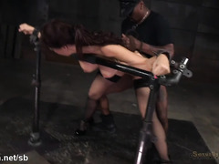 Mature brunette endures rough jamming punishment from two tough members