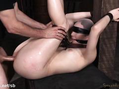 Gagged and bounded brunette slave accepts master rough fucking punishment willingly