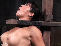 Punishing busty Asian sweetheart's wet throat with fervent cock shoveling