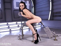 Petite raven-haired chick is trembling from excessive fucking machine pounding