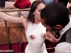Sweet brunette joins a sexy blonde slave as they serve tough black master